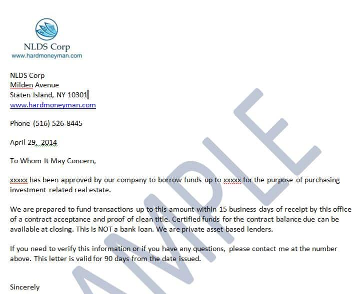 Proof of Funds Letter | Hard Money Man LLC | 866 461 2695